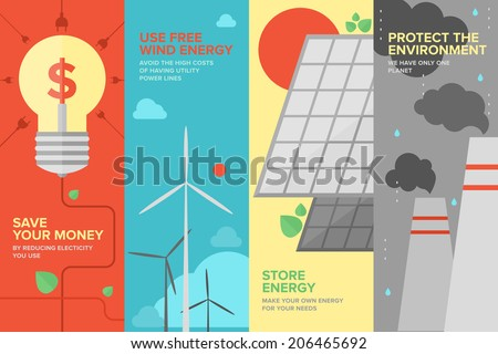 Flat banner set of power and energy savings, natural renewable and clean source of energy for money save and environmental protection. Flat design style modern vector illustration concept. - stock vector