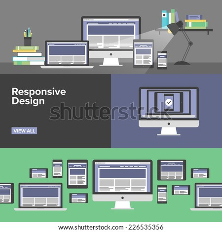 Flat banner set of responsive design web interface, creative studio workflow, html website coding for desktop and mobile devices, webpage prototyping process. Modern design vector illustration concept - stock vector