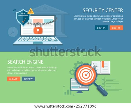 Flat banners set. Security center illustration with lock chain and laptop.Search engine illustration with darts board and magnifying glass. Eps10 - stock vector