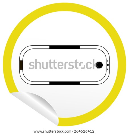 Flat bath icon on sticker for floor plan outline. Line editable EPS10 vector furniture illustration. View from above