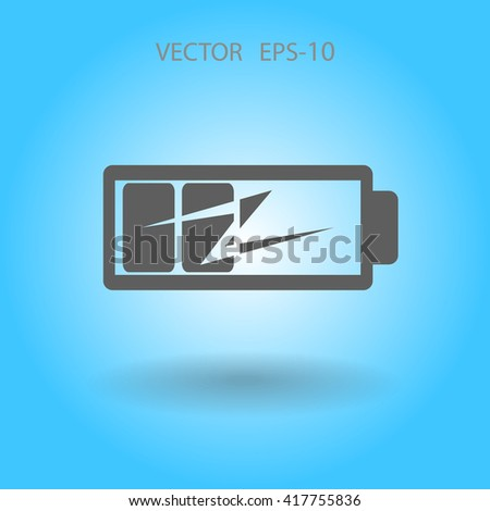 Flat battery low power icon - stock vector