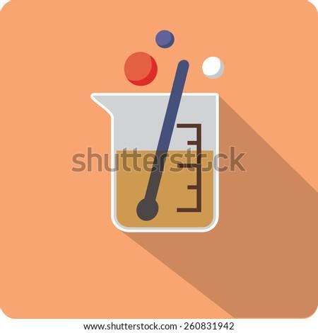 flat beaker icon - stock vector