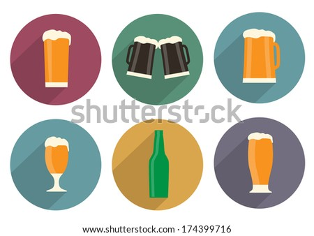 Flat beer icons with long shadow. Vector set - stock vector