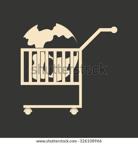 Flat black and white Earth in the cart - stock vector
