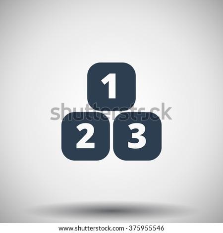 Flat black 123 Blocks icon - stock vector
