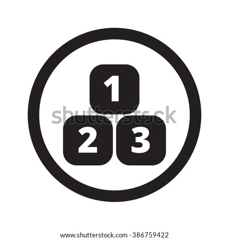 Flat black 123 Blocks web icon in circle on white background - stock vector