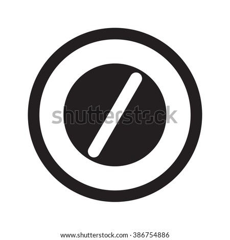 Flat black Pill web icon in circle on white background - stock vector