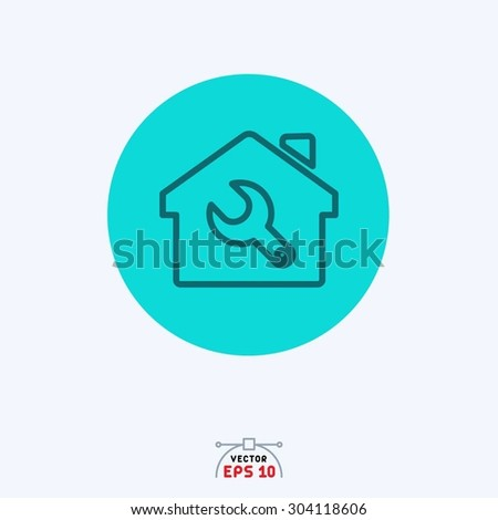 Flat blue icon of home setting.