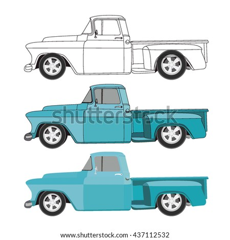 flat blue old pick up truck with black stroke viewed from the side - stock vector