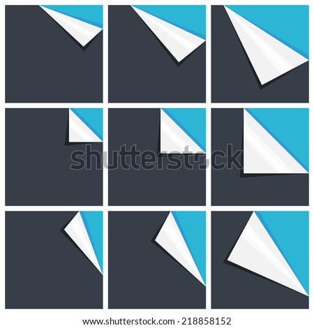Flat blue set of note paper with curled corner, vector illustration - stock vector