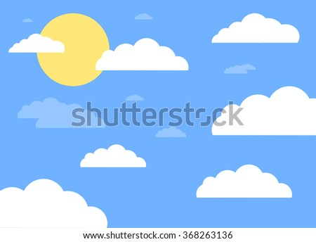 flat blue sky with sun and white clouds