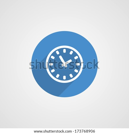 Flat Blue Time Icon - stock vector