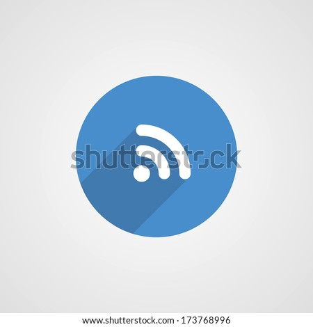 Flat Blue WiFi icon - stock vector