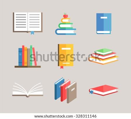 flat book symbols vector set - stock vector