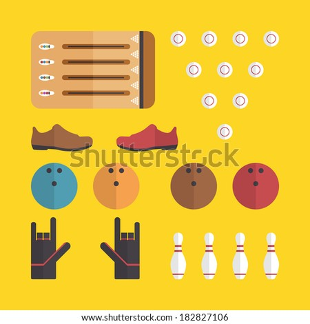 Flat bowling icons design with yellow background - stock vector