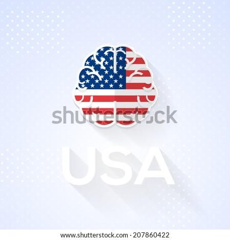 Flat Brain and Creative Ideas Flat Vector National Icons  - stock vector