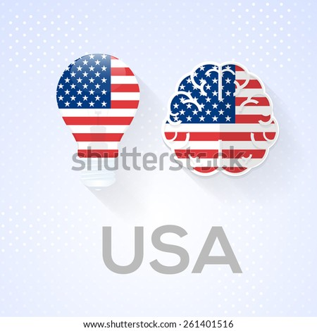 Flat Brain and Creative Ideas Flat Vector National Icons USA Theme - stock vector