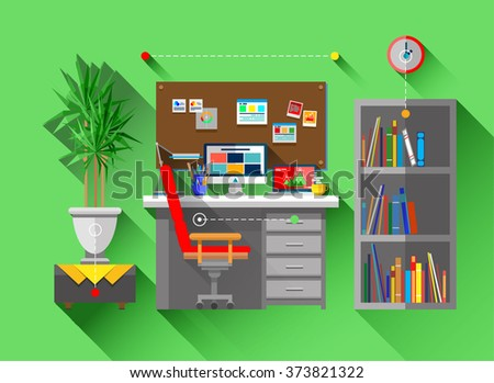 Flat Bright Design Of Web Banner Template With Icons Of Work Room Interior  Design And Art