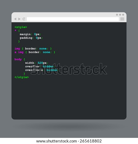 Flat browser window with code. Vector illustration - stock vector