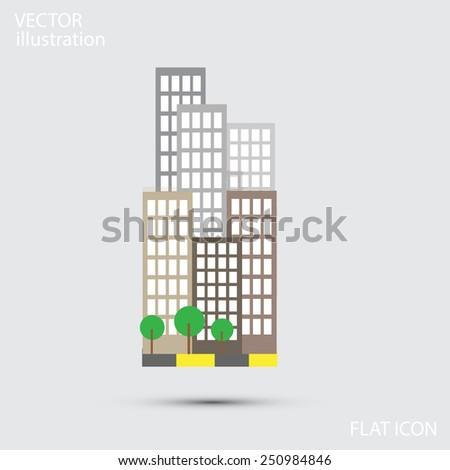 flat Building Icon. vector illustration - stock vector