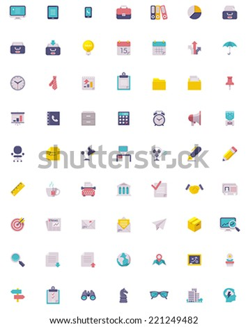 Flat business and office  icon set - stock vector