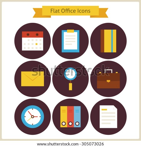 Flat Business and Office Icons Set. Vector Illustration. Collection of Office Tools Colorful Circle Icons. Business Concept  - stock vector