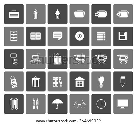 Flat Business and office icons - vector icon set - stock vector