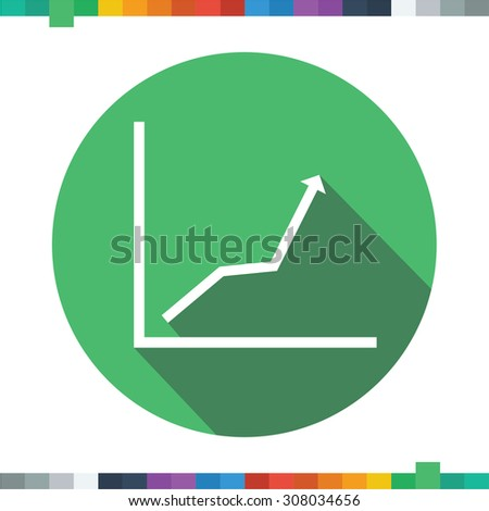 Flat business graph icon in a green circle with a long shadow. - stock vector