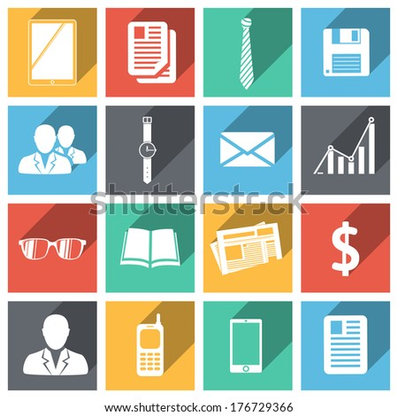 Flat business icons set with long shadows isolated vector illustration