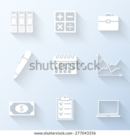 Flat business icons with long shadows. Vector illustration - stock vector