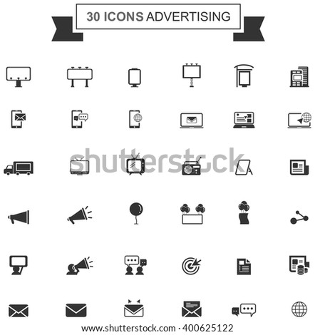 Flat business media advertising or digital internet marketing silhouette icon collection set design, create by vector - stock vector