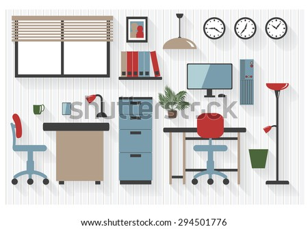 Flat Business Office Furniture Icons with Computers - All Long Shadows on one layer - contains blends  - stock vector