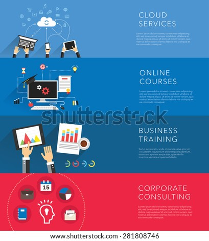 flat business training templates vector - stock vector