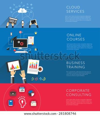 flat business training templates vector - stock vector