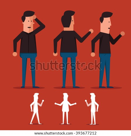 Flat Businessman Character with different poses and front, side and back view - stock vector
