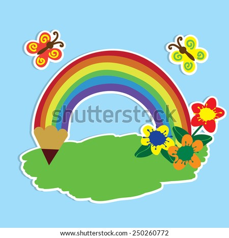 flat button with pencil rainbow - stock vector