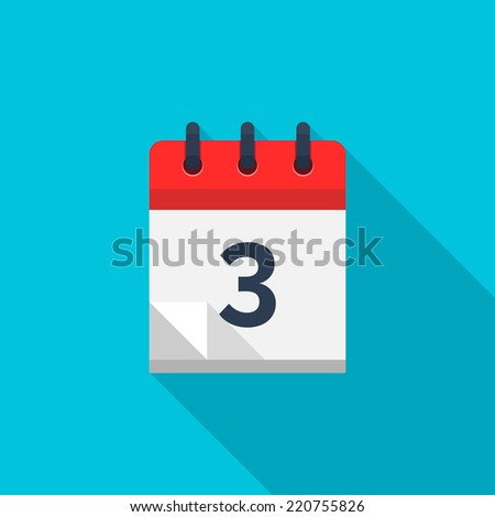 Flat calendar icon. Date and time background. Number 3 - stock vector