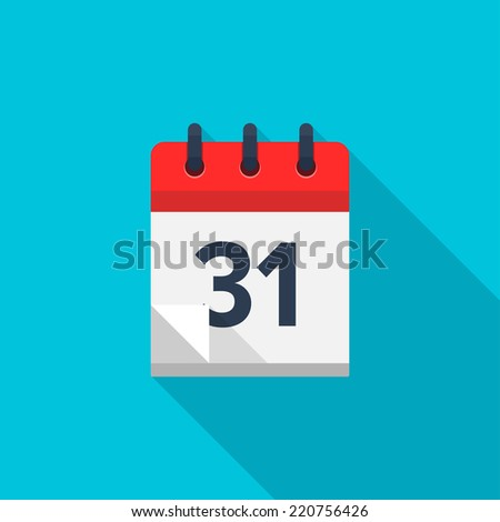 Flat calendar icon. Date and time background. Number 31 - stock vector