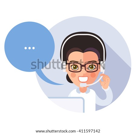 Flat call-center icon. Young operator customer service, a girl, smiling, talking on the phone, full face, looking at the viewer. Speech bubble. eps8 - stock vector