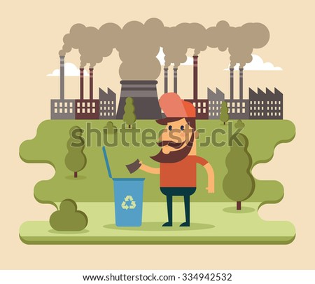 Flat Cartoon Character Standing Near the Trash Bag. Factory on the Background. Environment Protection Concept