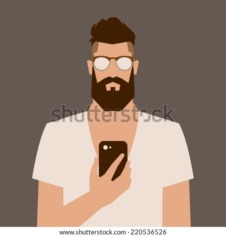 flat cartoon hipster character, vector illustration man with phone  - stock vector