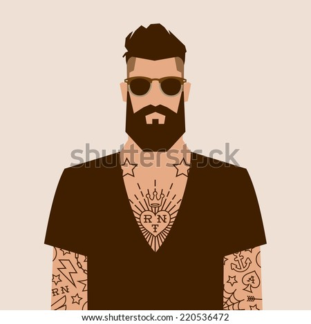 flat cartoon hipster character, vector illustration man with tattoo - stock vector
