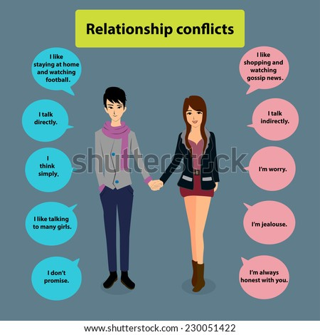 Flat cartoon information graphics,relationship problems - stock vector