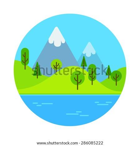 Flat cartoon landscape scene with mountain near lake. - stock vector