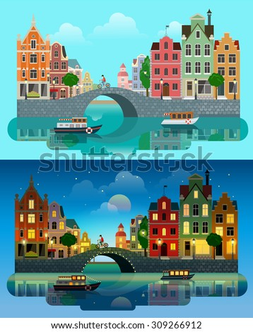 Flat cartoon multicolor colorful historic buildings city town set day and sunset night Amsterdam Holland, Venice Italy. River sea canal channel bridge boat embankment bicycle multi color street - stock vector