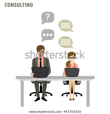 Flat character of business consulting concept , isolated on white background , stock vector illustration - stock vector