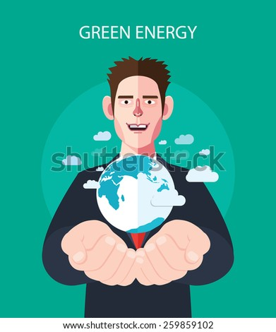 Flat character of green energy concept illustrations - stock vector