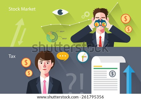 Flat characters of stock market concept illustrations - stock vector