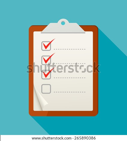 Flat check list icon with long shadow. Vector illustration - stock vector
