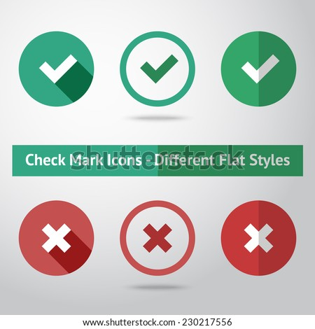Flat check marks set. Different kinds of flat style. Vector - stock vector
